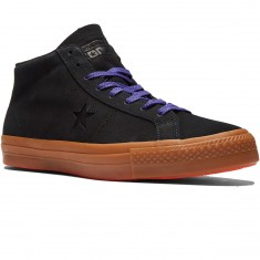 Converse One Star Pro Leather Shoes - Black/Gum/Candy Grape