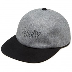 Obey Strike 6 Panel Snapback Hat - Black