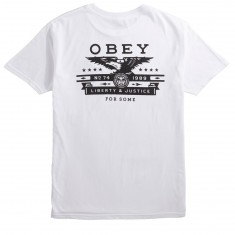 Obey Dissent And Justice Eagle T-Shirt - White