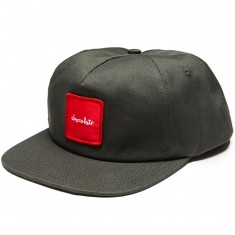 Chocolate Red Square Patch 5 Panel Snapback Hat - Grey