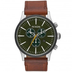 Nixon Sentry Chrono Leather Watch - Surplus/Brown