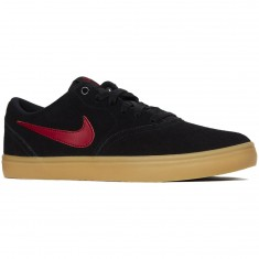 Nike SB Check Solarsoft Shoes - Black/Team Red/Gum Brown