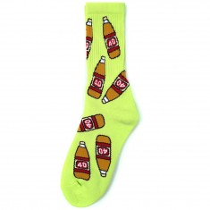 40s And Shorties 40 Bottle Socks - Neon Yellow
