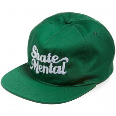 Skate Mental Script Logo Snapback Hat - Green Canvas