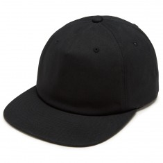 CCS Unstructured Leather Strap Hat - Black