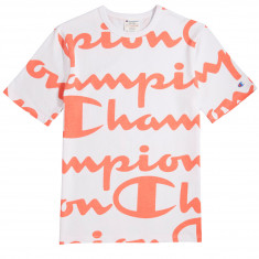 dccb0687d273 Champion Heritage All Over Giant Script T-Shirt - White/Papaya