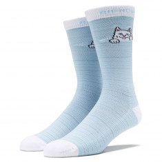 RIPNDIP Peeking Nermal Socks - Baby Blue/White