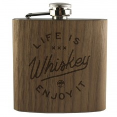 Arbor Collective Life Is Whiskey Flask - Walnut
