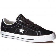 Converse One Star Skate Suede Shoes - Black/White/Black