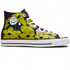 Converse X Dinosaur Jr CTAS Pro Hi Shoes - Eggplant Peel/Yellow/White