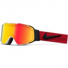 Nike Fade Snowboard Goggles - White/University Red/Black with Yellow Red Ion