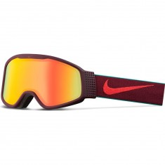 Nike Mazot Snowboard Goggles - Night Maroon/Bright Crimson with Yellow Red Ion