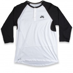 Nike SB Dri-Fit 3/4 Sleeve Henley T-Shirt - Black/White/Black