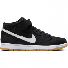 Nike SB Orange Label Dunk Mid Pro Shoes - Black/White/Black