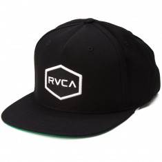 RVCA Commonwealth Snapback Hat - Black White f91971554eb2