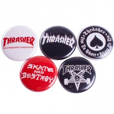 Thrasher Logo Buttons - 5 Pack