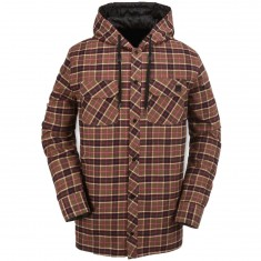 Volcom Burl Insulated Flannel Snowboard Jacket - Brown