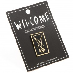 "Welcome Symbol 1.25"" Hard Enamel Lapel Pin - Black/Gold"