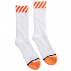 WKND Caution Socks - Orange/White