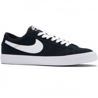 Nike SB Air Zoom Blazer Low Shoes - Black/White/Gum Light Brown - 10.0