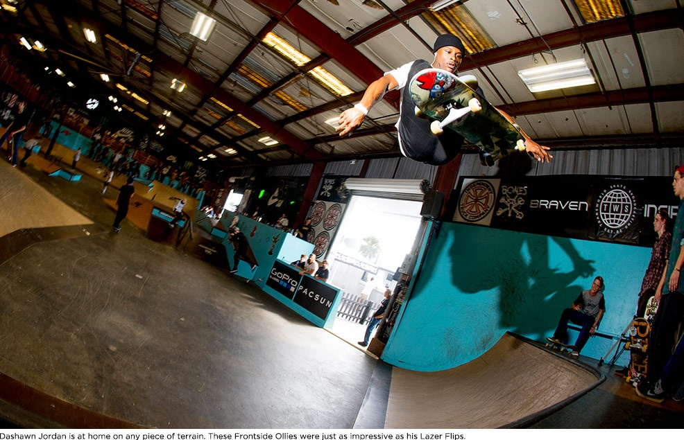 Dashawn Jordan is at home on any piece of terrain. These Frontside Ollies were just as impressive as his Lazer Flips.