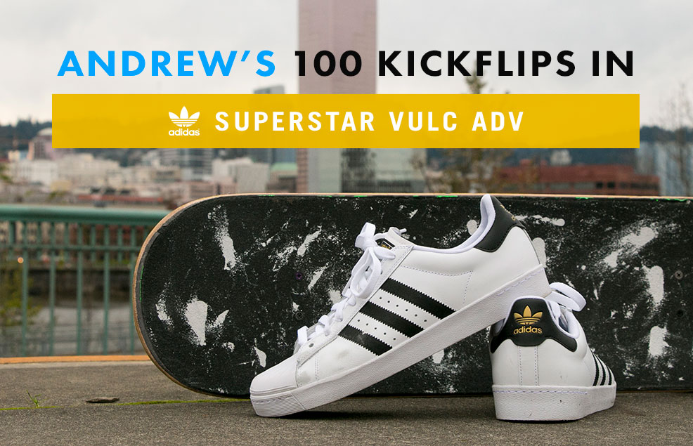 100 Kickflips In The Adidas Superstar Shoes