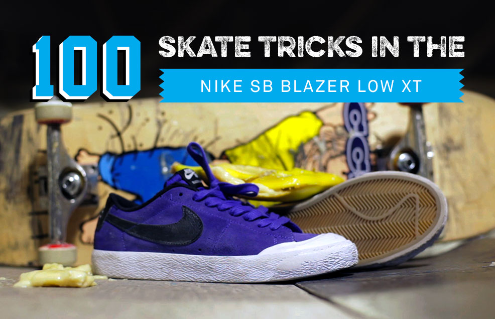 100 Skateboard Trick Wear Test in the Nike SB Blazer Low XT with Ben Raybourn