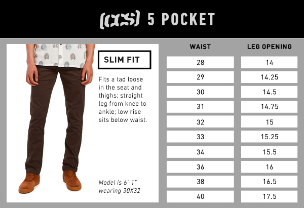 CCS 5 Pocket Slim Fit - Size Chart