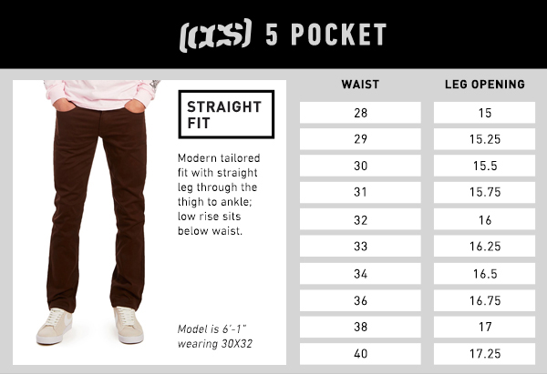 CCS 5 Pocket Straight Fit - Size Chart