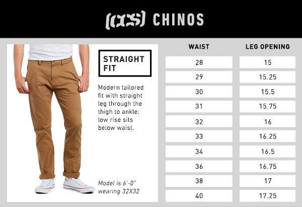 CCS Chino Straight Fit - Size Chart
