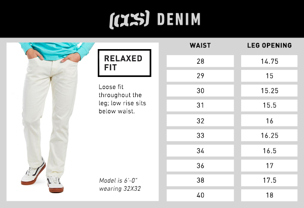 CCS Denim Relaxed Fit - Size Chart
