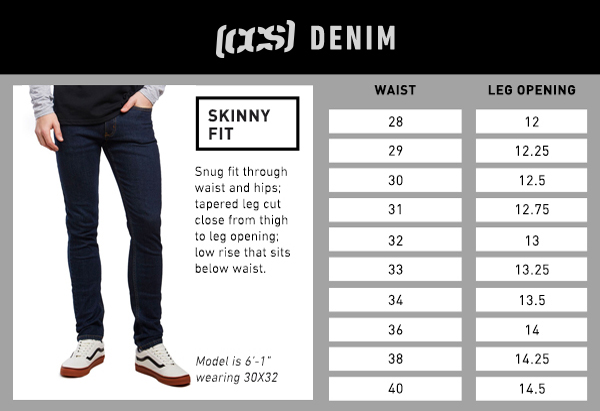 CCS Denim Skinny Fit - Size Chart