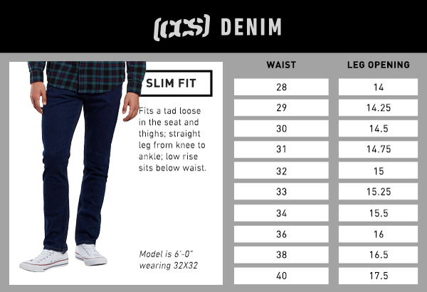 CCS Denim Slim Fit - Size Chart