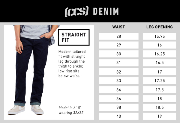 CCS Denim Straight Fit - Size Chart